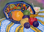 Blue Bowl and Fruits